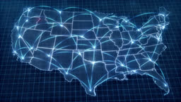 USA concept Network. Map. Connection. Connection. Political Influence Wave From Washington DC.