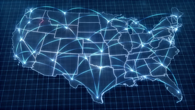 usa concept network. map. connection. connection. political influence wave from washington dc. - map stock videos & royalty-free footage