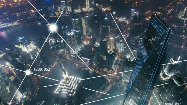 t/l 5g concept of shanghai skyline at night / china - smart city stock videos & royalty-free footage