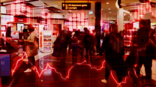 concept piece of airport, travel and tourism industry declining due to coronavirus pandemic and worsening economic conditions for the country shown with negative chart and stock market performance data - motion graphics stock videos & royalty-free footage