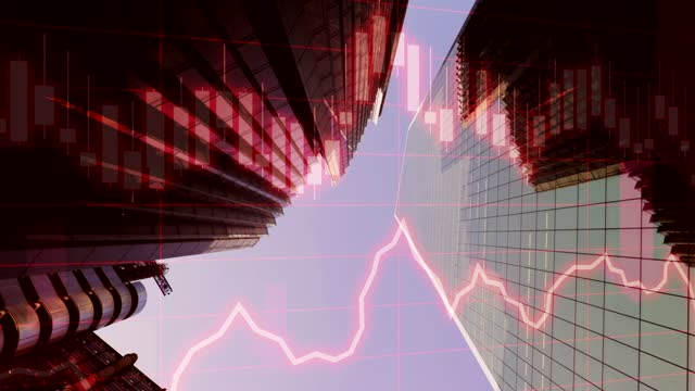 concept piece showing crashing global finance and stock market data against a skyscraper background - reduction stock videos & royalty-free footage