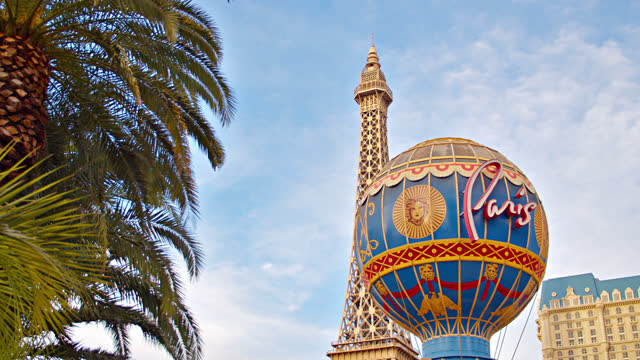 concept view. las vegas. paris hotel - paris las vegas stock videos & royalty-free footage