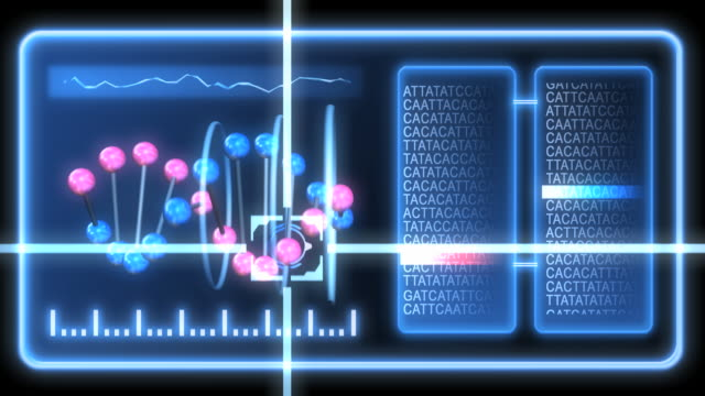 Conceptual clip of genetic screening, showing a DNA molecule and genetic code with a cursor tracking one of the DNA spheres.