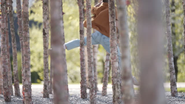 a conceptual dance series in-between trees - vignette stock videos & royalty-free footage
