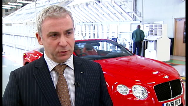 stockvideo's en b-roll-footage met concerns that boom in british car industry may not be sustainable int side view of new bentley continental v8 car front view of bentley continental... - tyne and wear