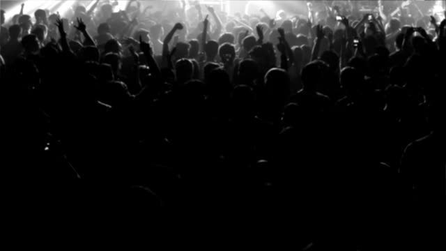 concert crowd 4 shot - black and white stock videos & royalty-free footage