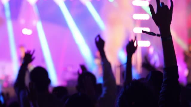 konzert-publikum und tanzende menschen - unterhaltungsveranstaltung stock-videos und b-roll-filmmaterial
