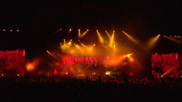 w/s ext concert crowd festival night stage - concert stock videos & royalty-free footage