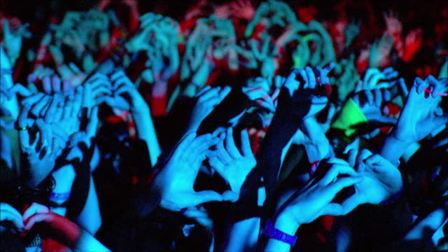 m/s ext concert crowd night hands - concert stock videos & royalty-free footage