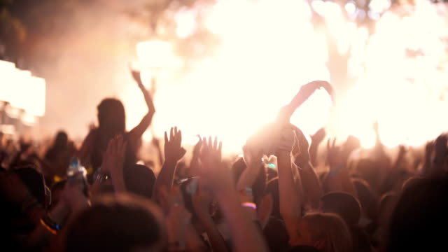 concert crowd partying. - music festival stock videos & royalty-free footage
