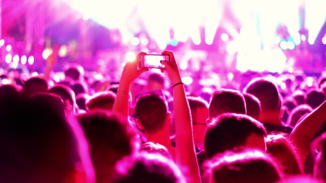 concert crowd. - behind stock videos & royalty-free footage