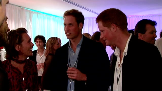 stockvideo's en b-roll-footage met afterparty backstage views prince william and prince harry greeting guests including members of 'take that' band gary barlow jason orange howard... - duran duran