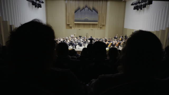 concert of classical music, the view from the back row. - orchester stock-videos und b-roll-filmmaterial