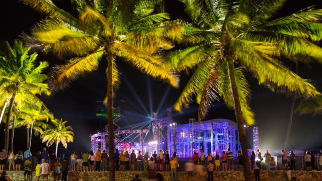 Concert stage on the beach, Art deco district, Ocean Drive, Miami Beach, Miami, Florida, USA - Time lapse