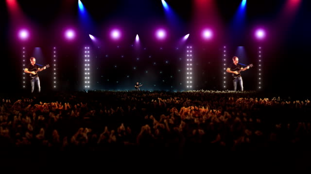 concert stage with musician and big crowd - performance group stock videos and b-roll footage