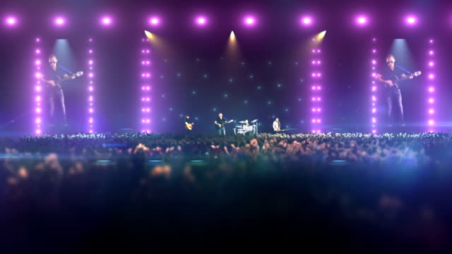 concert with crowd in slow motion. - stadio video stock e b–roll
