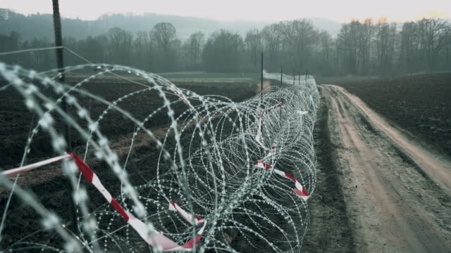 ds concertina wire placed on the field - exile stock videos & royalty-free footage