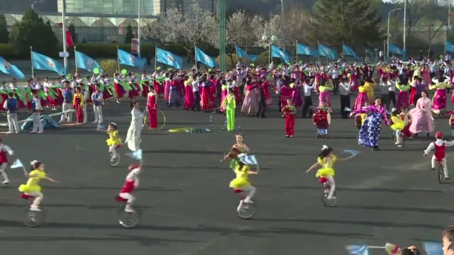 concerts dance performances and acrobatics are performed for the annual commemorations of the anniversary of the birth of the north's founder kim il... - kunst, kultur und unterhaltung stock-videos und b-roll-filmmaterial