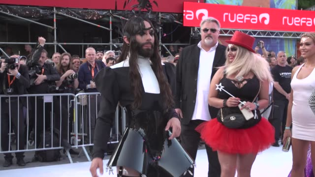 conchita wurst arrives for the life ball 2019 at city hall on june 8 2019 in vienna austria - vienna city hall stock videos & royalty-free footage