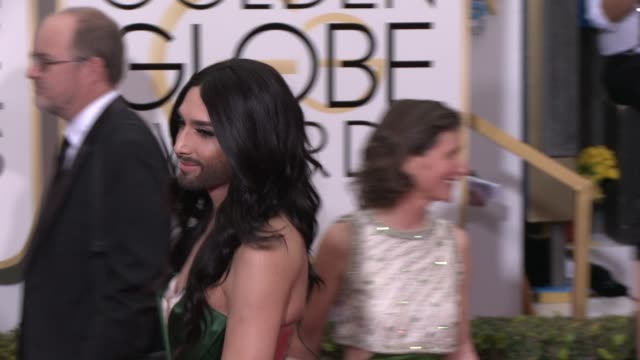 conchita wurst at the beverly hilton hotel on january 11, 2015 in beverly hills, california. - the beverly hilton hotel stock videos & royalty-free footage