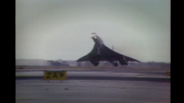 concorde landing at unidentified location - 1976 stock-videos und b-roll-filmmaterial