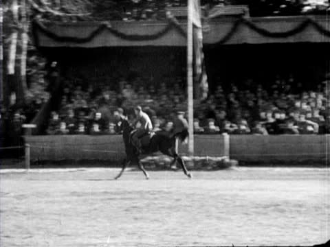 a concours hippique organised by the wehrmacht with different competitions for the horsemen there is also a perfomance by clowns - wehrmacht stock-videos und b-roll-filmmaterial