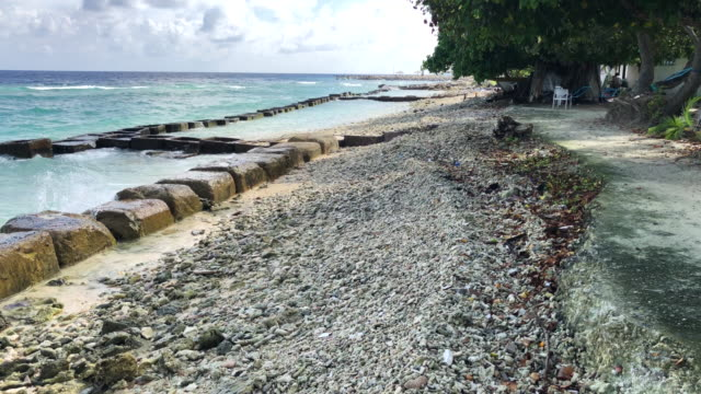 concrete blocks are placed along the shoreline to try and prevent further coastal erosion, on december 17, 2019 in mahibadhoo, maldives. the maldives... - eroded stock videos & royalty-free footage