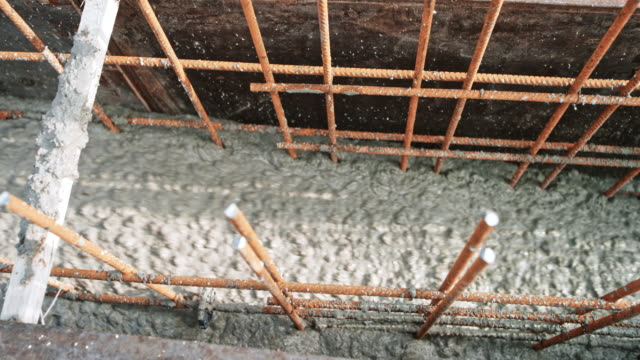 ld concrete flowing into the formwork - rod stock videos and b-roll footage