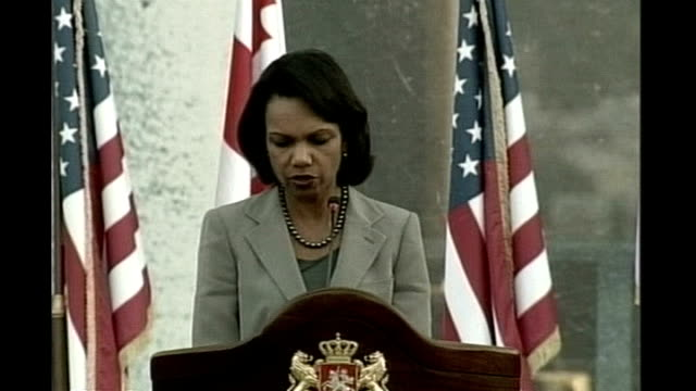 int condoleezza rice press conference sot with this ceasefire all russian forces must leave immediately - georgia us state stock videos & royalty-free footage
