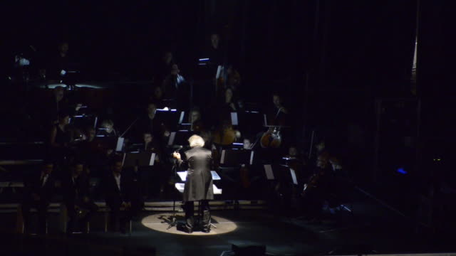 conductor illuminated at night and waving baton over orchestra in switzerland. - musical conductor stock videos & royalty-free footage