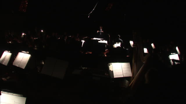 a conductor leads an orchestra during a performance. - orchestra stock videos & royalty-free footage