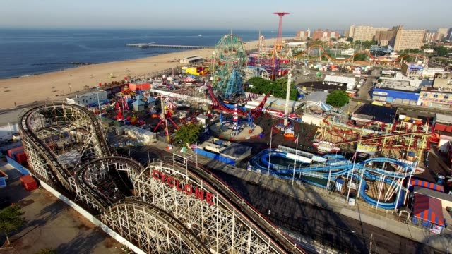coney island aerial footage - coney island stock-videos und b-roll-filmmaterial