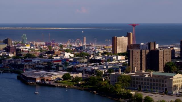 coney island aerial footage - coney island stock videos & royalty-free footage