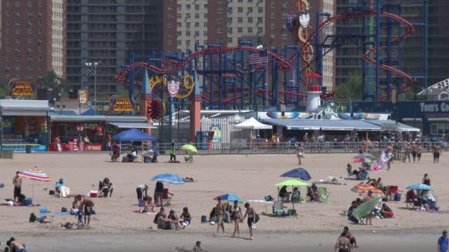 Coney Island Beach, Luna Park, Sunbathers On A Hot Summer Day