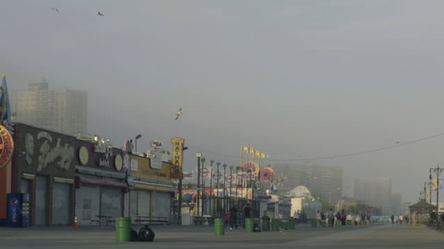 coney island boardwalk - seagull stock videos & royalty-free footage