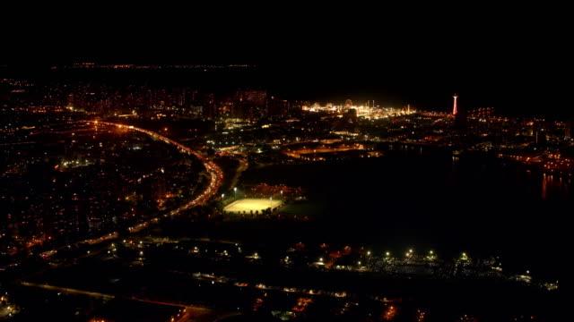 aerial coney island, brooklyn, nyc at night - coney island brooklyn stock videos and b-roll footage