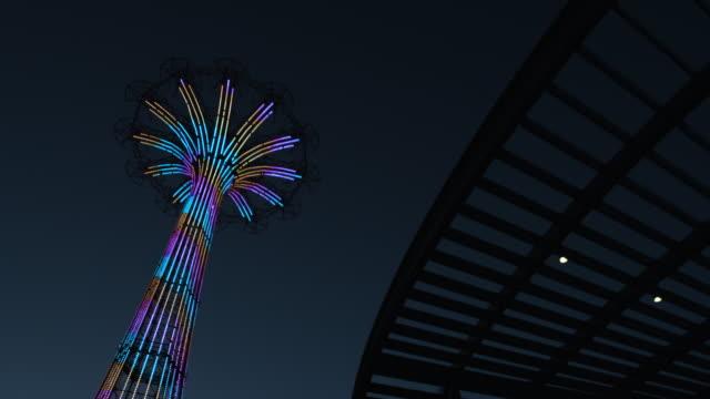 coney island - night - establishing shot - 4k - coney island stock videos and b-roll footage