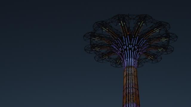 Coney Island - night - establishing shot - 4k