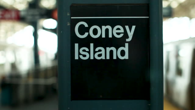 coney island subway train sign - coney island brooklyn stock videos & royalty-free footage