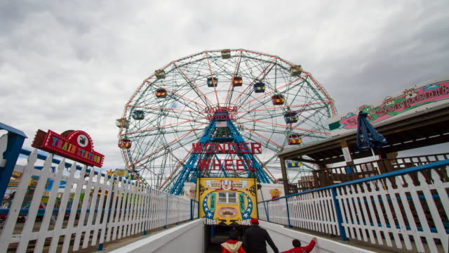 coney island wonder wheel - coney island stock videos and b-roll footage