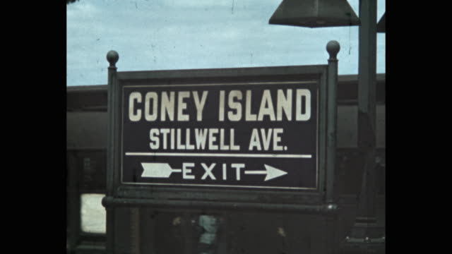 coney island-stillwell avenue sign on subway platform, new york city, ny, usa - 1941 stock videos & royalty-free footage
