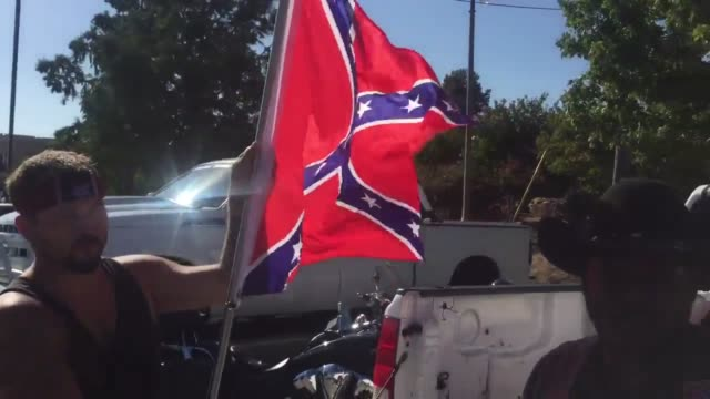 confederate flag group at black lives matter protest - confederate flag stock videos & royalty-free footage