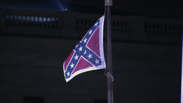 cu confederate flag moving in the wind / columbia, south carolina, united states - confederate flag stock videos and b-roll footage