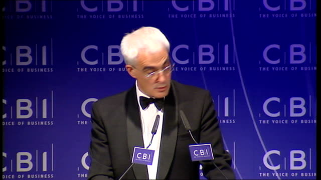 confederation of british industry annual dinner: alistair darling arrival & speech; darling speech sot - in recent months, pharmaceutical, and other... - improvement stock videos & royalty-free footage