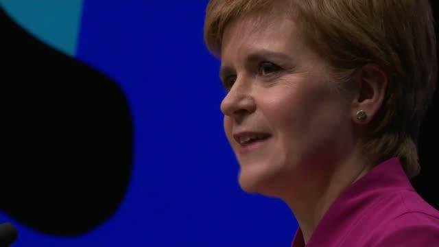 nicola sturgeon speech; scotland: aberdeen: 2019 snp conference: int nicola sturgeon msp speech continued sot/ speech ends - member of the scottish parliament stock videos & royalty-free footage