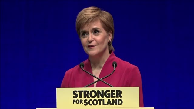 prospect of new independence referendum in scotland looking more likely scotland aberdeen snp conference int nicola sturgeon msp speech excerpt sot... - auditorium stock videos & royalty-free footage