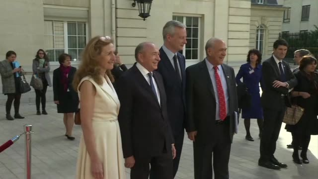conference at the oecd on combating the financing of terror groups opens in paris - oeec video stock e b–roll