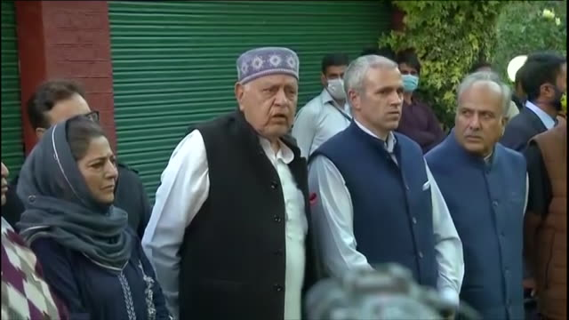 conference chief farooq abdullah's byte saying that the official name for the alliance, formed between the political parties in j&k, has been named... - byte stock videos & royalty-free footage