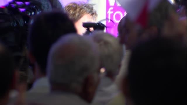 diane james speech england bournemouth int **music heard intermittently paul oakden introduction sot diane james mep along to stage / james hugging... - diane james politik stock-videos und b-roll-filmmaterial
