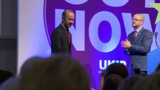 Conference / Henry Bolton elected as new leader Torquay UKIP Conference INT Man announces newlyelected UKIP Leader Henry Bolton onto stage SOT Henry...